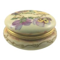 Antique Porcelain Powder Box with Pansies and Lattice