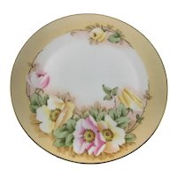 Antique Bavaria Plate Roses Studio Hand Painted