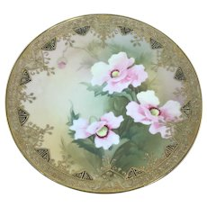 Nippon Gold Moriage Plaque Charger Pink Poppies