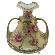 Nippon Roses and Heavy Gold Double Handle Tripod Vase