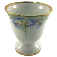 Limoges Egg Cup Daisies and Batchelor Buttons Artist Signed