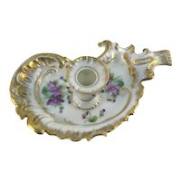 Antique Porcelain Candle Holder Purple Violets