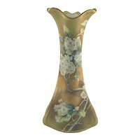 "Nippon 10 1/2"" Art Nouveau Vase with Cherry Blossoms C.1900"