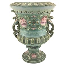 "Nippon Moriage Loving Cup Vase with Roses and ""Jewels"""
