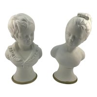 German Pair Parian Busts of Boy and Girl