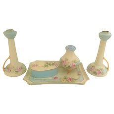 Art Deco 6 Pc. Dresser Set with Limoges Candle Holders Pink and Yellow Roses