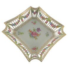 Reticulated Rococo Floral Candy Dish Czechoslovakia c.1920
