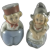 Vintage Silver Top Porcelain Dutch Couple Salt and Pepper Shakers