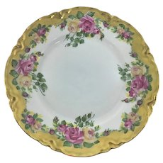Hutschenreuther Pink and Yellow Roses Heavy Gold Cabinet Plate