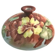 Limoges Nasturtiums Squat Vase Signed Esther Miler 1901