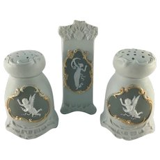 Jasperware Salt and Pepper Shakers Bud Vase c.1890
