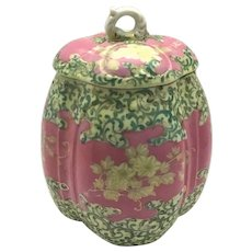 Victorian Pink and Gold Floral Hand Painted Biscuit Jar c.1890