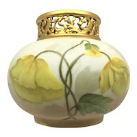 Limoges Gold Pierced Collar Vase Yellow Poppies