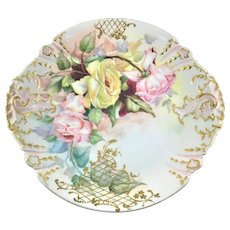 Haviland Limoges French Charger Pink Red and Yellow Roses with Lattice Scrolls