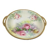 Victorian Hand Painted Double Handle Charger Pink Roses