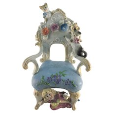 Victorian Figurine Chair with Girl and Cats Double Posey Vase