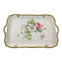Victorian Dresser Tray Pink and White Roses Satin Finish