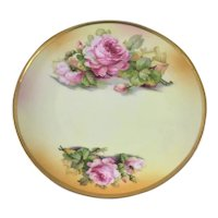 Victorian Bavaria Plate Hand Painted Pink Roses Artist Signed