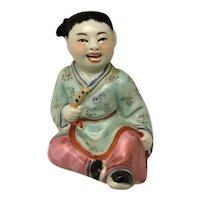 Chinese Porcelain Figurine Open Mouth Girl in Kimono with Flute