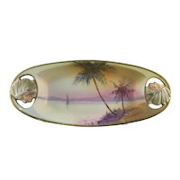 Nippon Sailboat Scene Tray with Indian Chief Cutout Handles