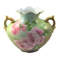 Limoges Art Nouveau Double Handle Vase with Red and Pink Roses