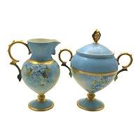 Art Nouveau Pedestal Sugar Bowl and Cream Pitcher Swan Handles and Face