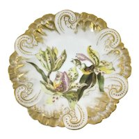 Art Nouveau Gold Candy Cane Mold Plate Tiger Lilies Dated 1891