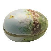 Hand Painted Porcelain Egg Hinged Box Meadow Scene with Butterfly