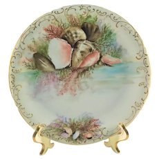 Limoges Sea Life Seafood Plate Reflecting Coral and Conch Shells