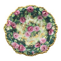 Nippon Double Handle Gold Moriage Bowl Pink Roses