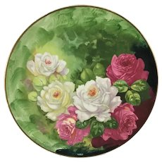 Warwick Charger Pink and White Roses Artist Signed