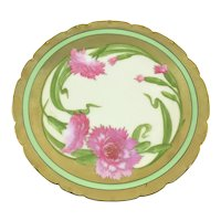 Art Nouveau Heavy Gold Pink Carnations Hand Painted Plate
