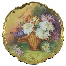 Limoges French Porcelain Wall Plaque Basket of Flowers Artist Signed Duval