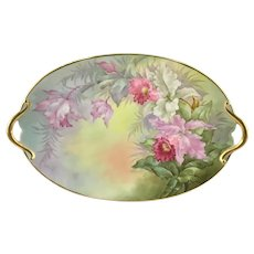 Limoges Cattleya Orchid Double Handle Tray Artist Signed Putzski