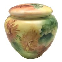 Limoges Porcelain Humidor Colorful Mums Dated 1899