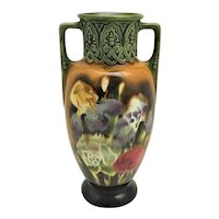 Majolica Iris Double Handle Vase