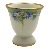 Limoges Egg Cup Daisies and Bachelor Buttons Artist Signed