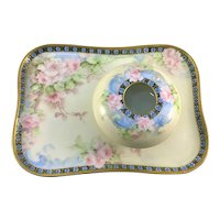 Limoges Dresser Set Tray and Hair Receiver Pink Roses