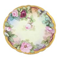 Victorian Heavy Gold Charger Pink Roses Listed American Artist M. Perl