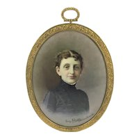 Miniature Portrait Victorian Woman In Mourning Franz Schier Munich 1891