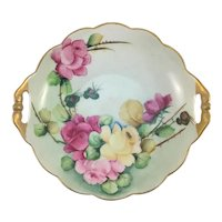 Art Nouveau Double Handle Bowl Pink and Yellow Roses