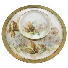 RS Germany 2 Tiered Cocktail Tray Hand Painted Hydrangea