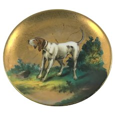 Hunting Hound Pointer Dog Miniature Plate c.1890