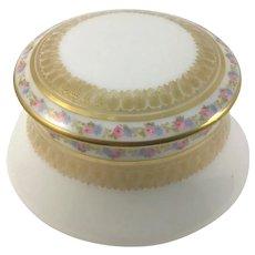 Limoges Elegant Porcelain Trinket Box Pink Rose Garlands Gold Stenciling