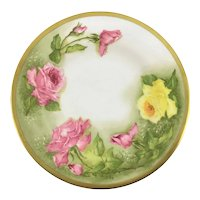 French Limoges Plate Pink and Yellow Roses c.1900