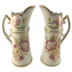 Vintage Pair Decorative Gilt Floral Porcelain Ewers