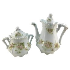 Hermann Ohme Dragon Spout Floral Teapot and Sugar Bowl