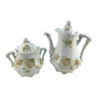 Hermann Ohme Dragon Spout Lion Handle Floral Teapot and Sugar Bowl