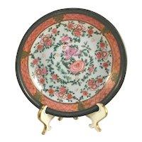 Vintage ISCO Pewter Covered Enamel Hand Painted Porcelain Bowl Famille Rose