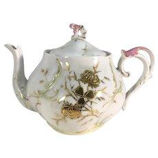 German Squat Teapot Gold Clover c.1890